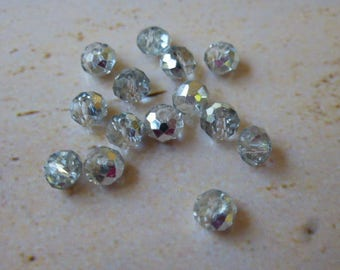 Crystal AB beads faceted abacus 3 x 4 mm set of 25 Crystal silver