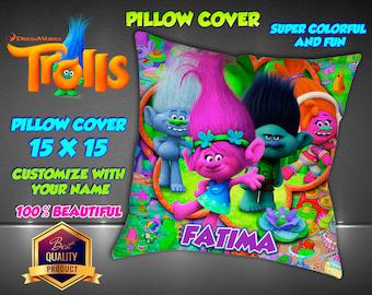 Trolls Pillow Cover  Pillowcase Pillow Cover. Personalized Name Pillowcase Decorative Pillow.  Pillow Cover Disney