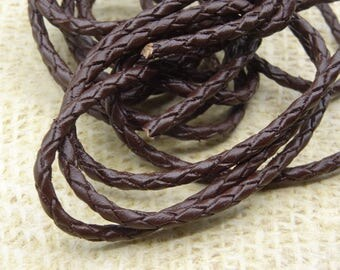 1 m cord 3mm dark brown braided genuine leather