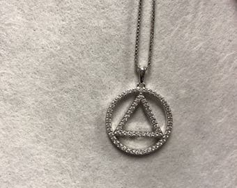 AA Sterling Silver Pendant with CZ and Necklace 20mm