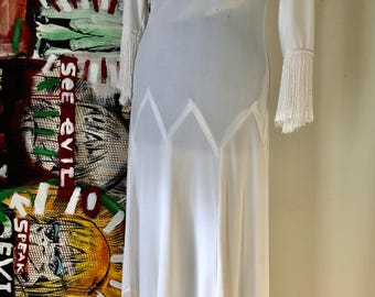 Vintage 1970s white tassle dress