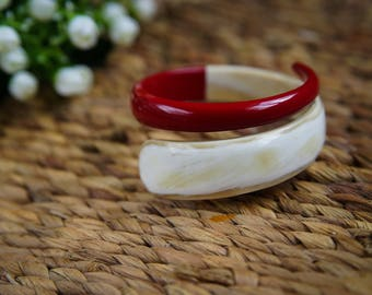 Natural Horn and Lacquer Bangle Bracelet  - TA30112