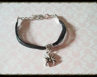 Cord bracelet made with a spider charm