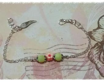 Chain bracelet, 925 sterling silver, with beads and charms