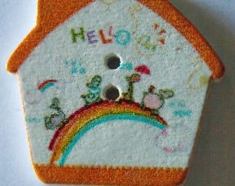 Beautiful orange bow House wooden button in sky animals 2 holes
