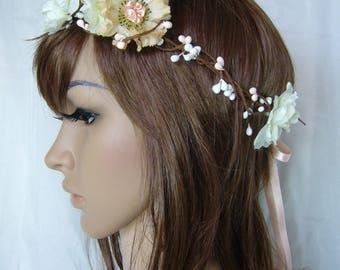 vintage flower bridal headband peach and beige