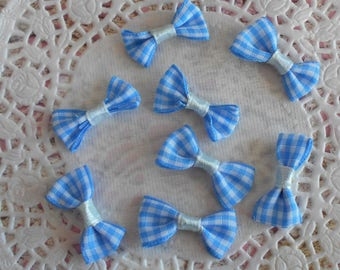 Bow blue and white gingham polyester for 3.00 x (8 knots) sewing