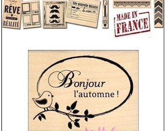 "Stamp wood ""Hello"" Autumn ""Design""made in France""Miscellany scrapbooking card making *"""