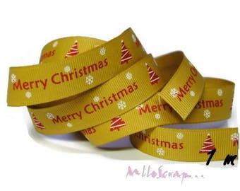 "1 m gold printed Ribbon ""MERRY CHRISTMAS"" Christmas scrapbooking 4 *."