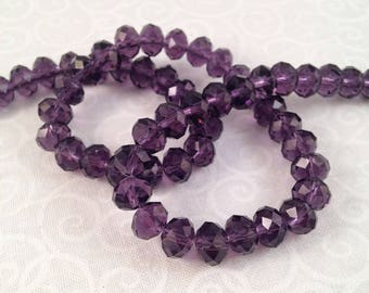 10 Crystal beads, violet purple, faceted, 6 X 8 mm