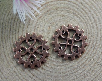 2 connectors form toothed wheel, red copper color