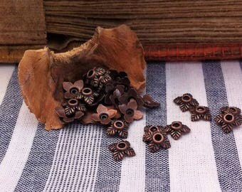 20 bead caps dark copper square decorated sheets of 8x8mm