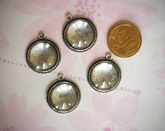 4xSupports 16mm, silver cabochon pendant antique + 16mm glass cabochon