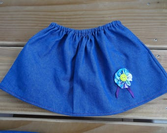 Denim skirt, elasticated waist and yoyo flower