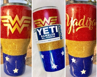 Wonder Woman Glitter Yeti Tumbler- with Lid & Straw!