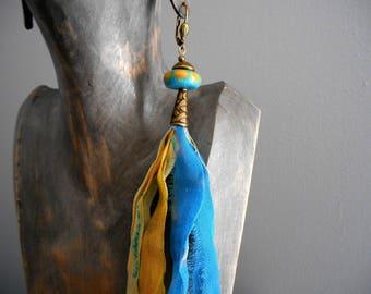 loop long monoboucle ethnic Bohemian silk ribbons