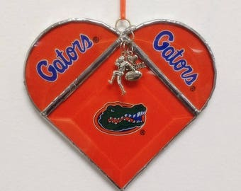 Stained Glass, Heart, University of Florida, Florida Gators, Football, Gators, Gift for Him, Gift for Her, UF, Home Decor, Birthday Gift