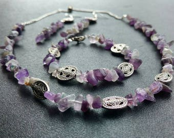 Amethyst Chip Jewelry Set (Necklace, Bracelet, and Earrings)