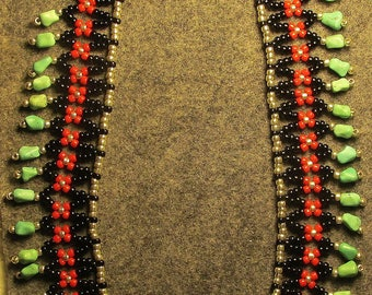 New Mexican Turquoise and Coral Net Necklace