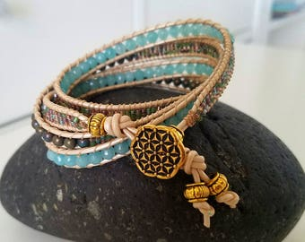 Hope Is The Thing With Feathers Four 4 Wrap Beaded Bracelet