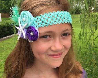 Mermaid Flower Headband, Girls fancy headbands, Party headbands, Starfish headband, Shabby Chic headband, fascinator