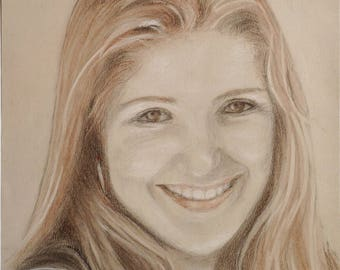 EXAMPLE of PORTRAIT with 3 pencils to order 40 / 30cm, on drawing paper.