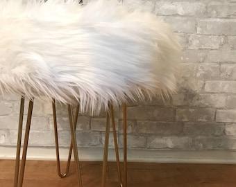 Luxury Soft Faux Fur Stool - Set of 2