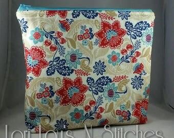 Zipper Pouch Large Floral 11x10
