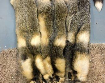 tanned Cross fox pelts, no feet