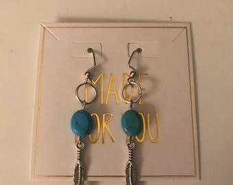Boho turquoise earrings/dangle earringa/bead earrings