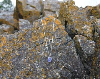 Genuine Dark Blue Seaglass Necklace