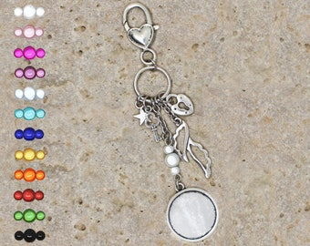Support cabochon 20 mm for bag charm or door key, wings
