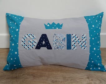 Personalized pillow Gabin teal and grey