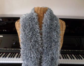 very soft and very long gray scarf