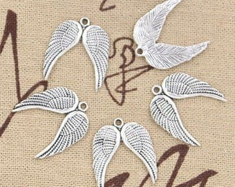 set of 5 Angel Wings charms
