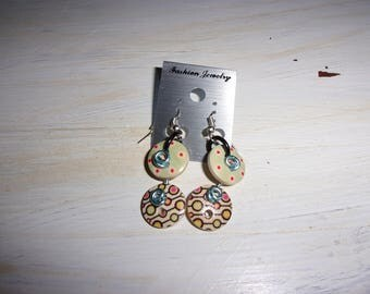 Earrings made with natural wooden buttons.
