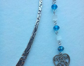Bookmark metal glass beads and heart charm