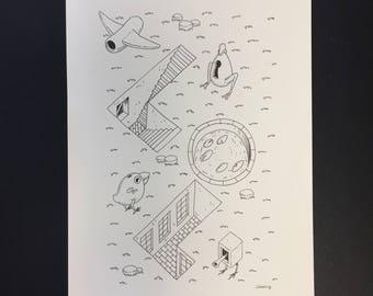 Original illustration in black ink