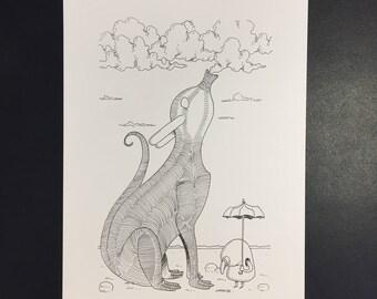 Nuage, Illustration originale à l'encre noire