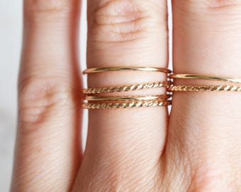 Delicate stacking ring; Gold Filled 14k; sterling silver 925; simple rings; Handmade Jewelry; Dainty Jewelry; Dainty Ring; twisted; smooth
