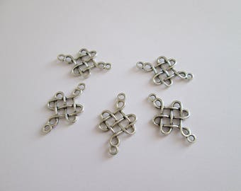 5 connecteur noeud entrelacs celtique métal argenté 30 x 18 mm