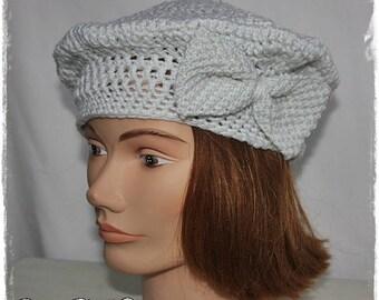 Pearl gray color crochet beret.