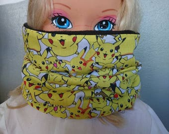 Reversible SNOOD collar black fleece and cotton pikachu pokemon