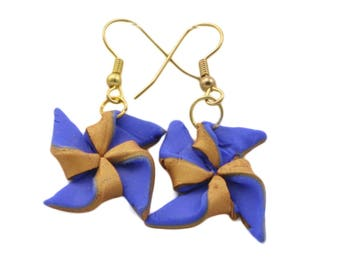 Blue and Gold Fimo Polymer Clay Pinwheel earrings, Fashion Jewellery