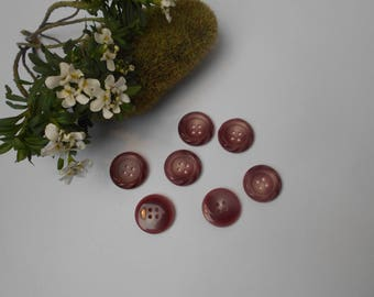 7 garnets buttons with iridescent and 23mm