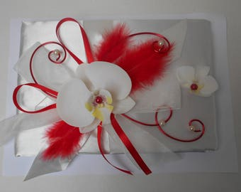 Guestbook for wedding - ivory and red with Orchid