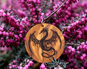 Pendant with laser-engraved Dragon motif made of olive wood on a leather belt