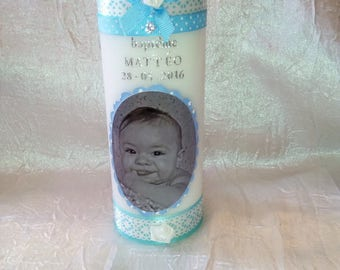 2 candles for baptism or communion Photo + 1 candles