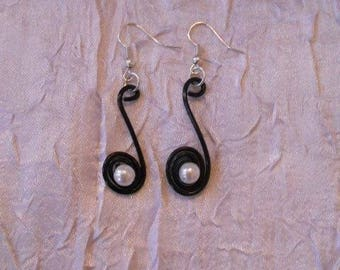 Earrings, wedding or bridesmaid Black Aluminum