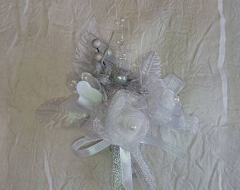 Wedding, communion or baptism silver and white flower boutonniere